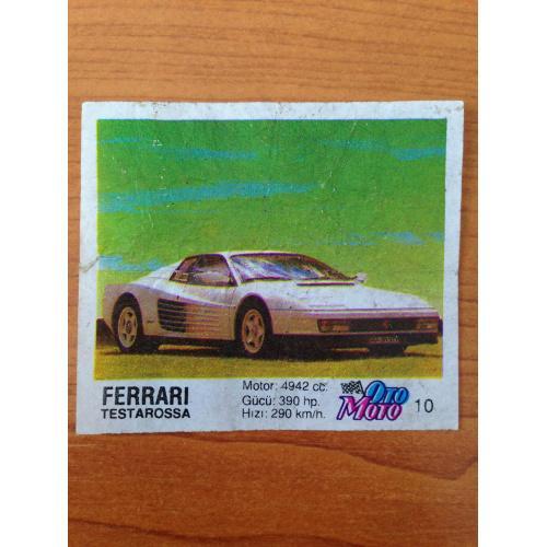 Ferrari Testarossa.  Вкладыш от жвачки OTO MOTO 10