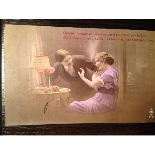 Французская фотооткрытка. Любовь. Мужчина и женщина за столиком. 1915 г.