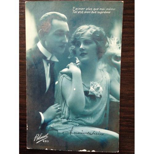 Французская фотооткрытка. Мужчина и женщина. 1929 г.
