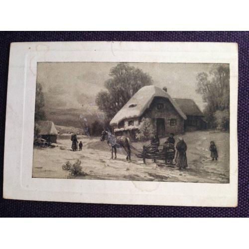 Французская фотооткрытка. Повозка на деревенской дороге. 1916 г.
