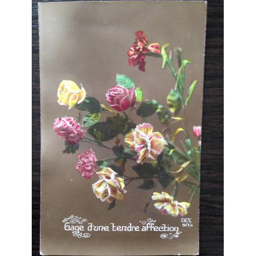Французская фотооткрытка. С любовью. Букет цветов. 1919 г.