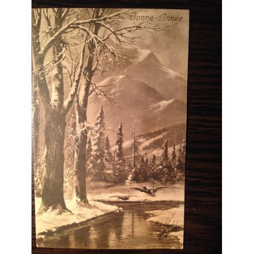 Французская фотооткрытка. С Новым годом! Река, горы. 1914 г.