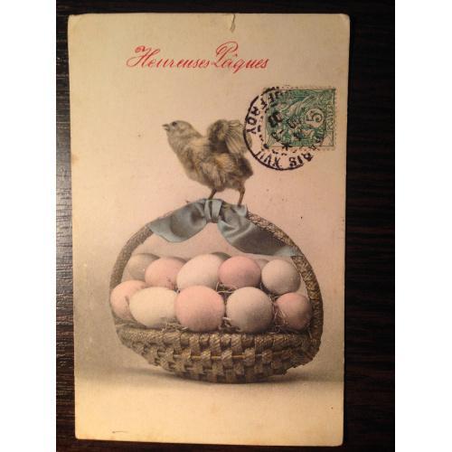 Французская фотооткрытка. С праздником Пасхи. Цыпленок на корзине.
