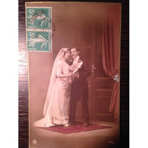 """Французская фотооткрытка """"Жених и невеста"""""""