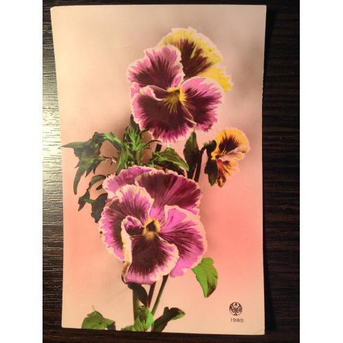 Французская открытка 1946 г. Цветы.