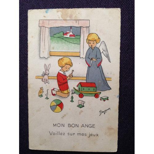 Французская открытка. Ангел наблюдает за игрой ребенка.
