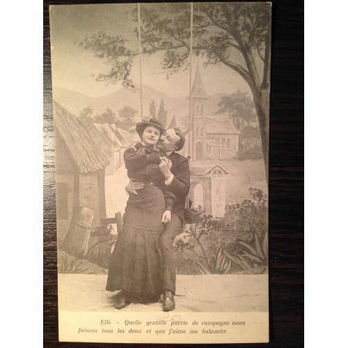 Французская открытка. Мужчина и женщина на качелях.