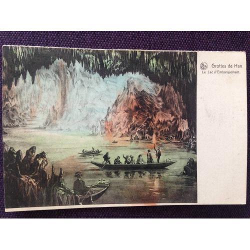 Французская открытка. Озеро в пещере.