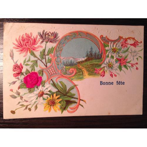 Французская открытка.  С Днем рождения. Домик в горах.