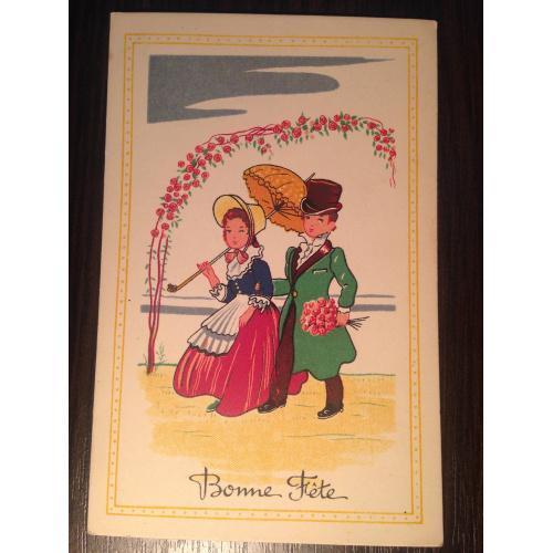 Французская открытка. С Днем Рождения! Пара прогуливается. 1919 г.