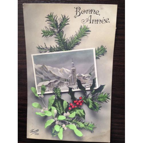 Французская открытка. С Новым годом! Деревня в горах.