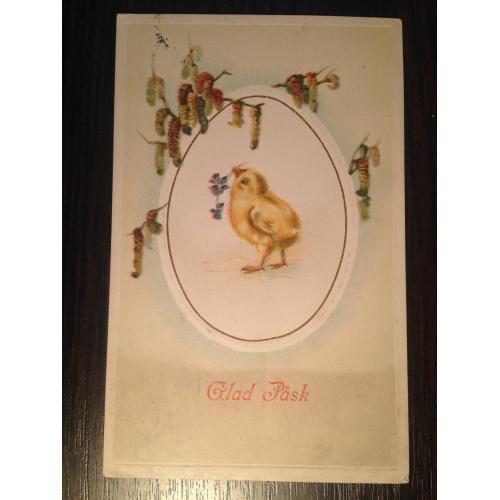 Французская открытка. С праздником Пасхи. Цыпленок с цветочком. 1914 г.
