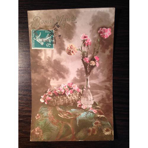 Французская старинная фотооткрытка С Новым годом. Букет цветов в вазе. Начало 20-х годов.