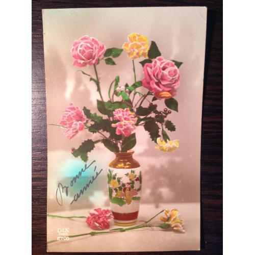 Французская старинная фотооткрытка С Новым годом. Розы в вазе. 1923 г.