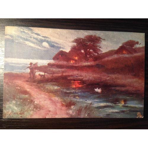 Французская старинная открытка. Пейзаж. Река.