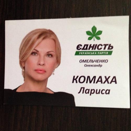 Календарик. Политика - Выборы. Єдність українська партія. Комаха Лариса. 2016