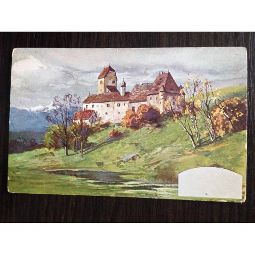 Немецкая открытка. Замок на холме.