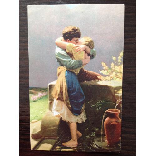 Немецкая старинная открытка. Поцелуй.