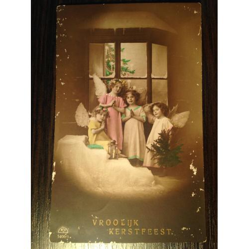 Нидерландская фотооткрытка. С Рождеством. Ангелочки.