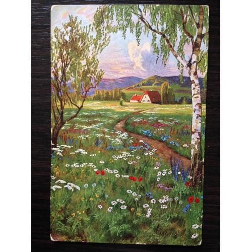 Открытка. Дом в цветущем поле. 1912  г.