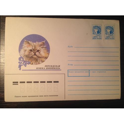 Почтовый конверт. Персидская кошка Шиншилла 1991 г.