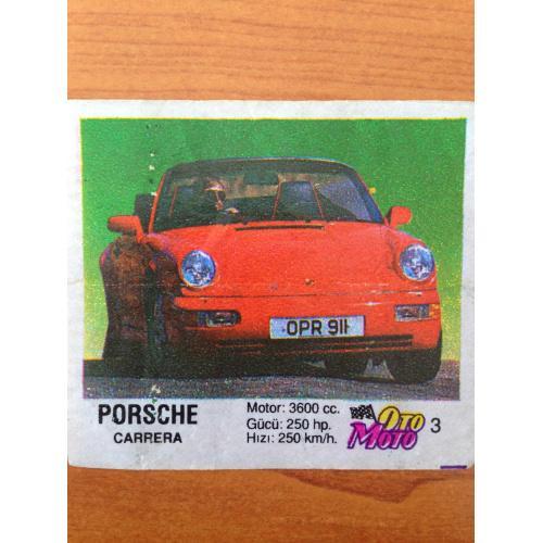 Porsche Carrera.  Вкладыш от жвачки OTO MOTO 3