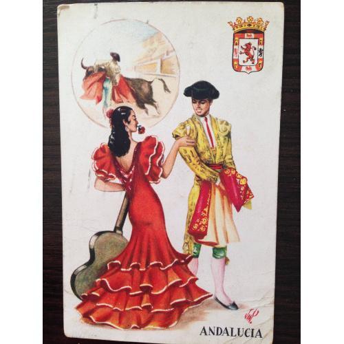 Старинная испанская открытка. Андалусия.