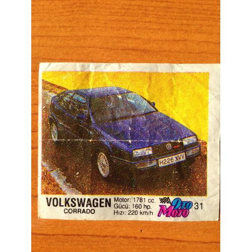 Volksvagen Corrado. Вкладыш от жвачки OTO MOTO 31