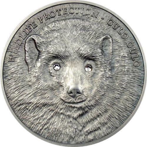 Монголия - Росомаха- 2007- серебряная монета с кристаллами