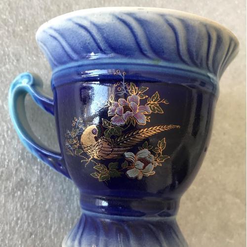 Чашка глазурь позолота керамика птица цветы