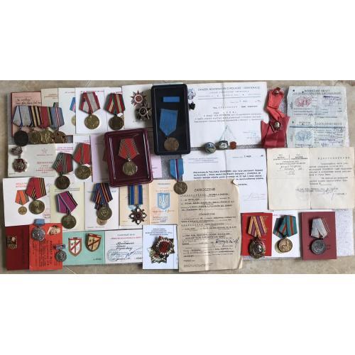 Документы награды сотрудника МГБ спецпартизанская бригада Щорса Партизан Украины + иностранные