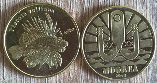 Французская Полинезия остров Муреа Moorea 1 доллар 2018 рыба Pterois Volitans