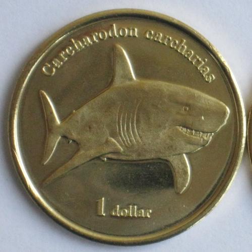 Французская Полинезия остров Муреа МОРЕА Moorea 1 доллар 2019 Белая акула Carcharodon carcharias