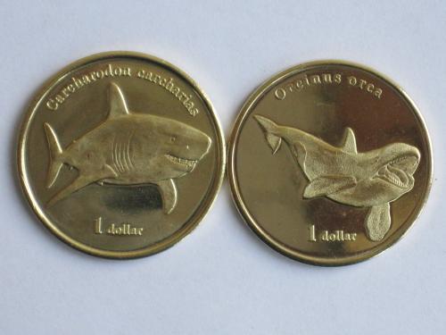 Французская Полинезия остров Муреа МОРЕА Moorea 1 доллар 2019 Белая акула Касатка кит дельфин пара