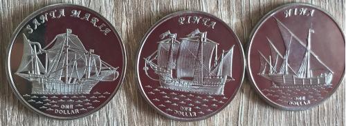 Острова Гилберта Gilbert Islands Вітрильники парусники 3 монеты НОВИНКА 2016 1 $