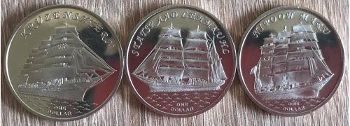 Острова Гилберта Gilbert Islands Вітрильники парусники 3 монеты НОВИНКА 2018 1 $