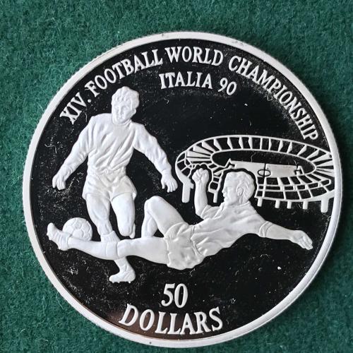 Острова кука 50 долларов 1990 Серебро  XIV ЧЕМПИОНАТ МИРА ПО ФУТБОЛУ 1990 ИТАЛИЯ