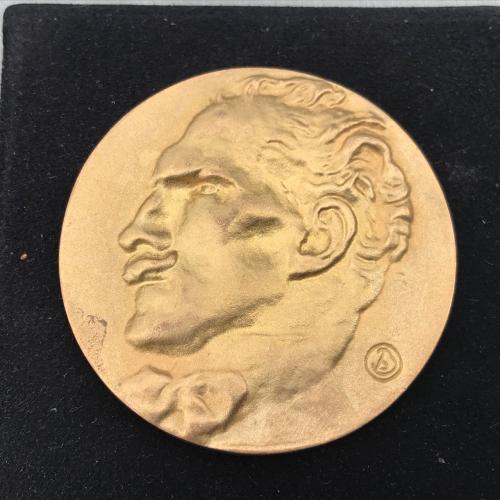 позолоченная бронзовая НАСТОЛЬНАЯ медаль A Tribute To 25.03.1867 Parma 16.01.1957 New York Mont Blan