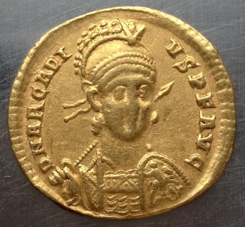 Солид Византия Аркадий Флавий золото 4,4 грамма 397 - 402 г н э