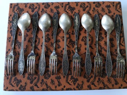 Столовый набор СССР МНЦ мельхиор серебрение ЗІШ ЗИШ ЗИД ЗІД десертные ложки 6 вилки 6 12 предметов