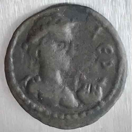 Тетрассарий Херсонес бронза 6,47 грамма ХЕР ЕЛЕ Дева и лань, лира