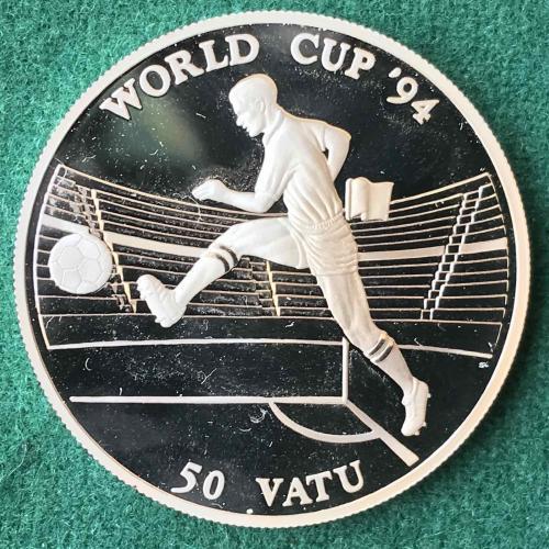 Вануату 50 вату 1994 Серебро ЧЕМПИОНАТ МИРА ПО ФУТБОЛУ 1994 США