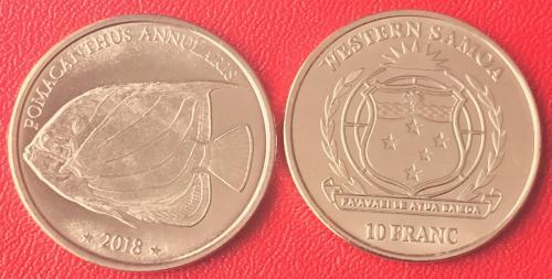 Western Samoa Западное Самоа 10 франков 2018 РЫБА UNC 35 мм