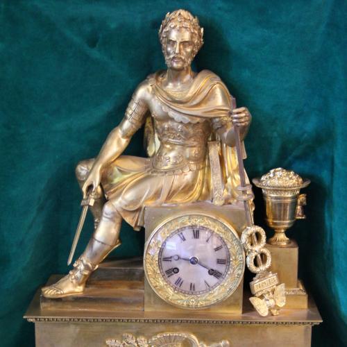 """Часы каминные """"Падение Римской Империи"""" бронза,позолота. Высота 57 см., ширина 40 см, глубина 15 см."""