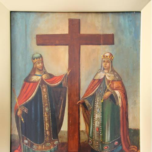 Икона Константин и Елена. Отец и дочь. Воздвижение Креста 30х36 см