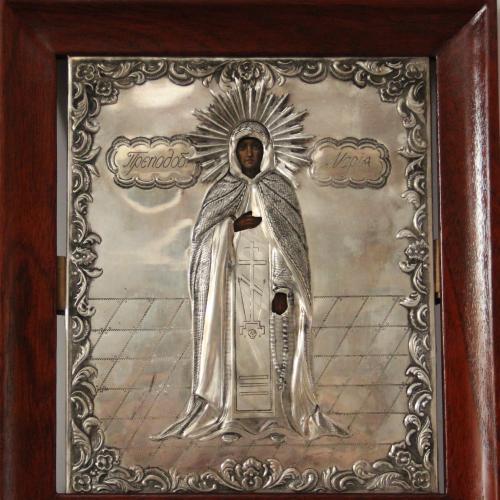 """Икона """"Преподобная Мария"""". Серебро, 84, Подписная  18х22 см."""