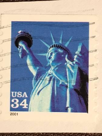 Марка США. 34 цента. Статуя Свободы. 2001 г.