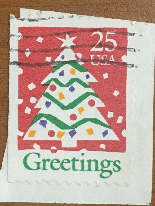 Марка США. Рождество. 25 центов. Елка. На бумаге.