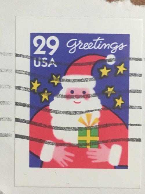 Марка США. Рождество. 29 центов.  Санта Клаус. На бумаге.