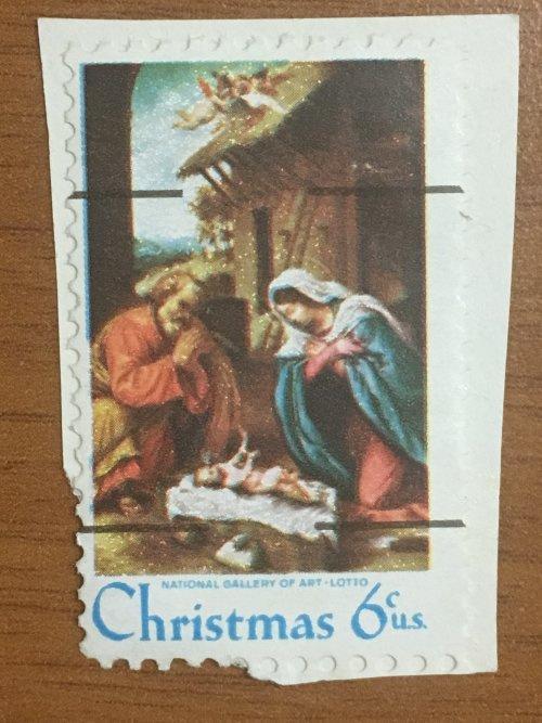 Марка США. Рождество.  6 центов.  На бумаге.